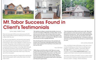 Mt. Tabor Success Found in Client Testimonials