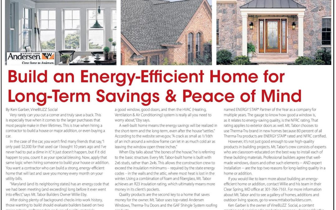 Build an energy efficient home for long term savings mt for Building an efficient home