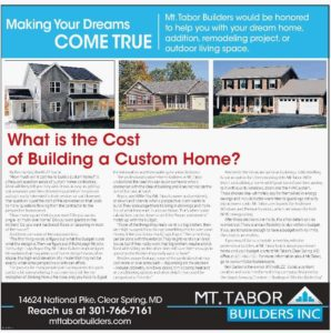 What is the cost of building a custom home mt tabor for Cost to build a house in maryland