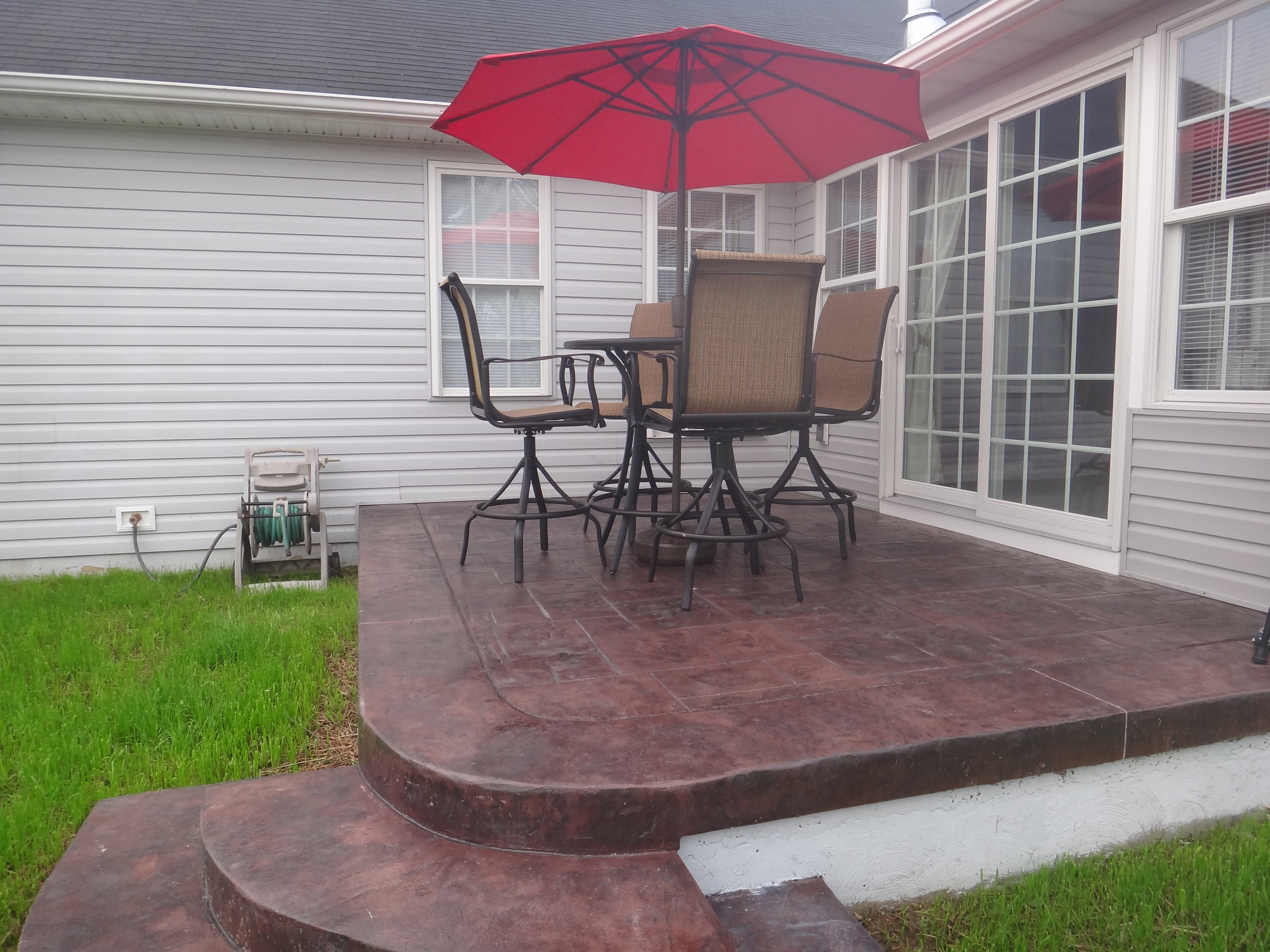 Custom patio on custom addition by Mt. Tabor Builders in Falling Waters, WV home
