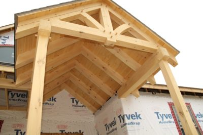 Timbers on Timber frame in Smithsburg, MD built by Mt. Tabor Builders
