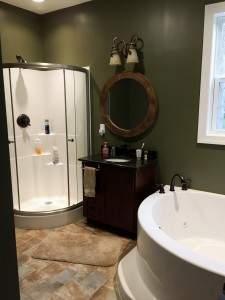 Custom bathroom in rancher in Sharpsburg, MD by Mt. Tabor Builders