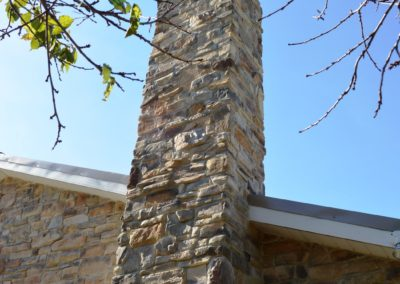 Stone chimney on colonial renovation in Clear Spring, MD