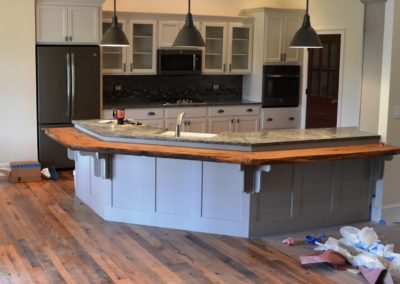 Custom Home in Clear Spring, MD built by Mt. Tabor Builders using reclaimed wood for floors and exposed beams