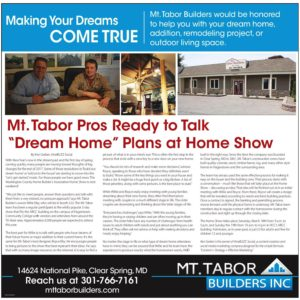 Mt. Tabor Builder's Home Show article for 2017 in Herald-Mail