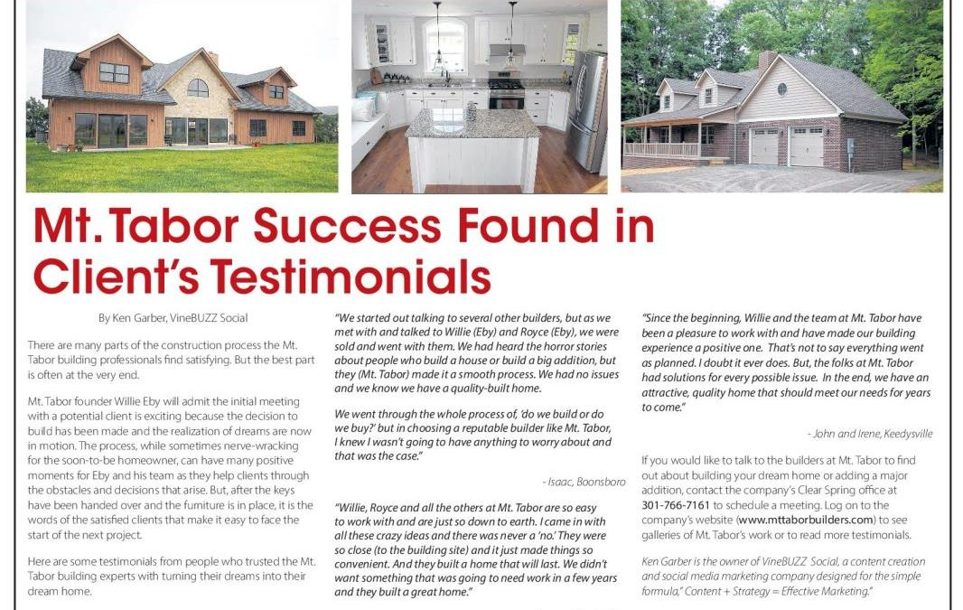 Mt. Tabor Success Found in Client Testimonials