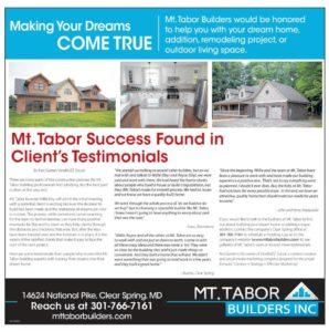 Mt. Tabor Builder Client Testimonial article