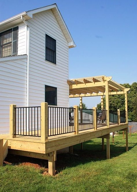 Decks Home Custom Decks Carpentry: Custom Deck With Pergola On A Hagerstown, MD Home