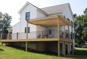 Custom deck with pergola by Mt. Tabor Builders of Clear Spring, MD on a Hagerstown, MD home