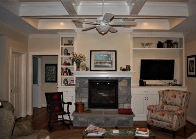 Williamsport, MD Cape Cod living room with stone fireplace in custom home built by Mt. Tabor Builders