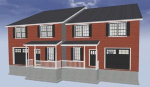 New duplex rendering by Mt. Tabor Builders custom home builder in Clear Spring, MD